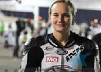 Woman Motorcycle Racer Nina Prinz Scores Win in Superstock