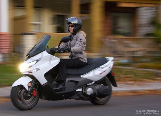 KYMCO Xciting 500Ri Maxi Scooter on Motoress Vicki Gray