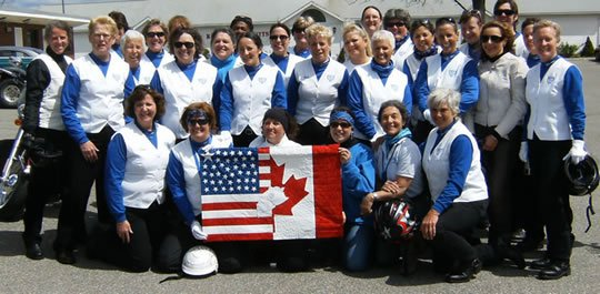 Motor Maids Exchanged Flags on International Female Ride Day