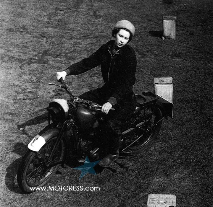 Queen Elizabeth II Majestic Motorbike Manoeuvres MOTORESS