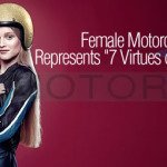 EICMA Woman Motorcycle Rider Mom Depicts Seven Virtues