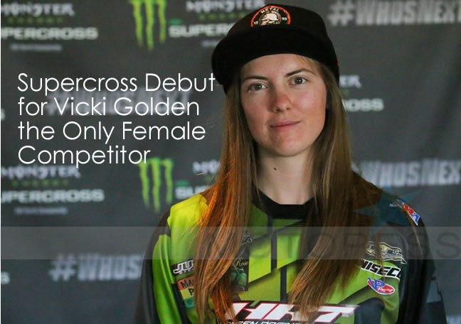 Golden Supercross Woman Motorcycle Rider