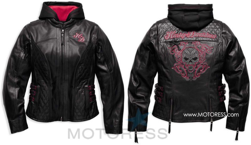 Harley-Davidson Women's Scroll Skull Leather Motorcycle Jacket- MOTORESS