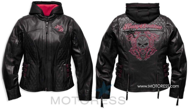 93e1db6ebdbb Harley-Davidson Women s Scroll Skull Leather Motorcycle Jacket- MOTORESS