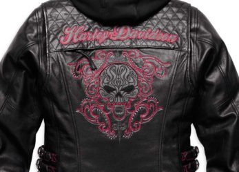 Harley-Davidson Women's Scroll Skull 3-in-1 Leather Motorcycle Jacket
