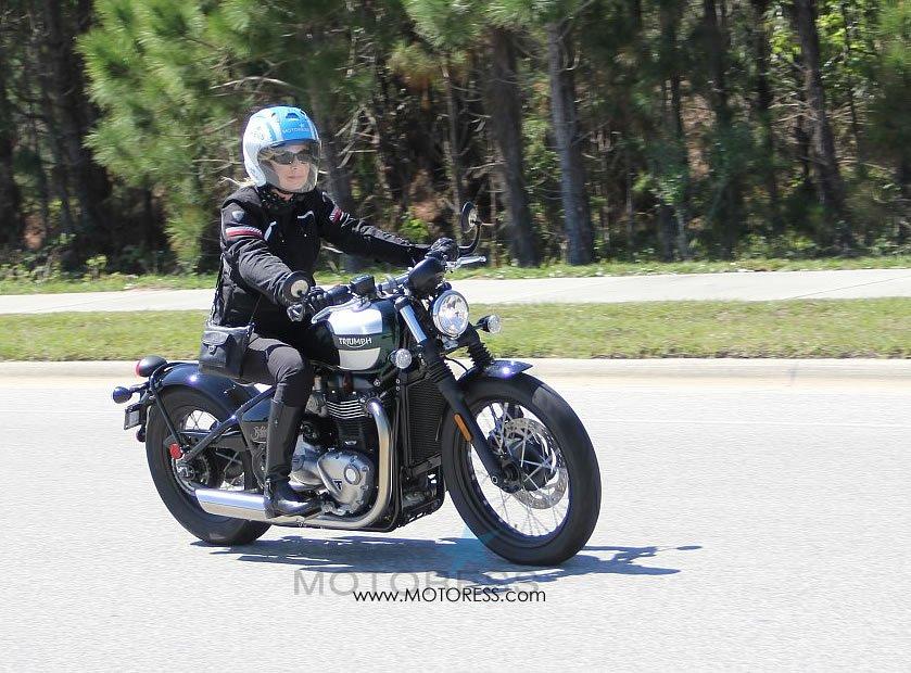 Triumph Bonneville Bobber With Vicki Gray