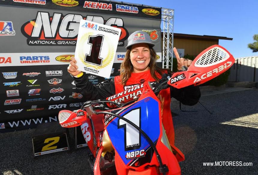 Tarah Gieger Champion in the AMA National Grand Prix Pro Women's Class - MOTORESS