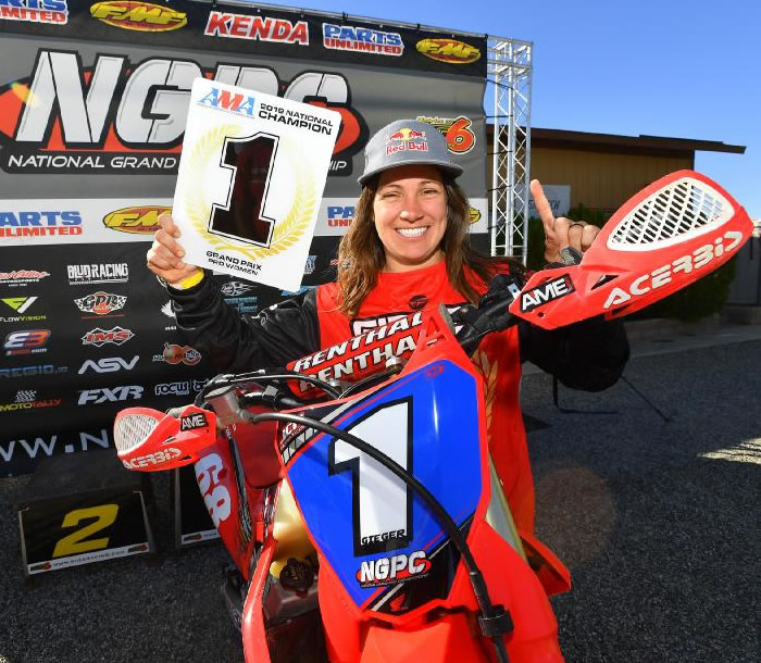 Tarah Gieger Champion in the AMA National Grand Prix Pro Women's Class - MOTORESS